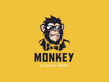 Monkey Mascot Logo Vector