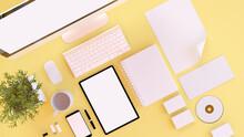 Branding Elements On Yellow De...
