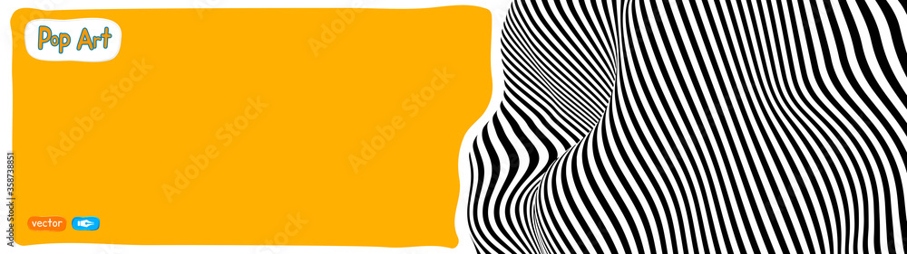 Fototapeta Op art vector illustration, yellow orange background, pop art illustration.