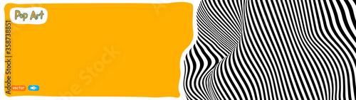 Obraz Op art vector illustration, yellow orange background, pop art illustration. - fototapety do salonu
