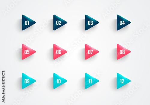 Vászonkép Vector Illustration Modern Triangle Bullet Point Set
