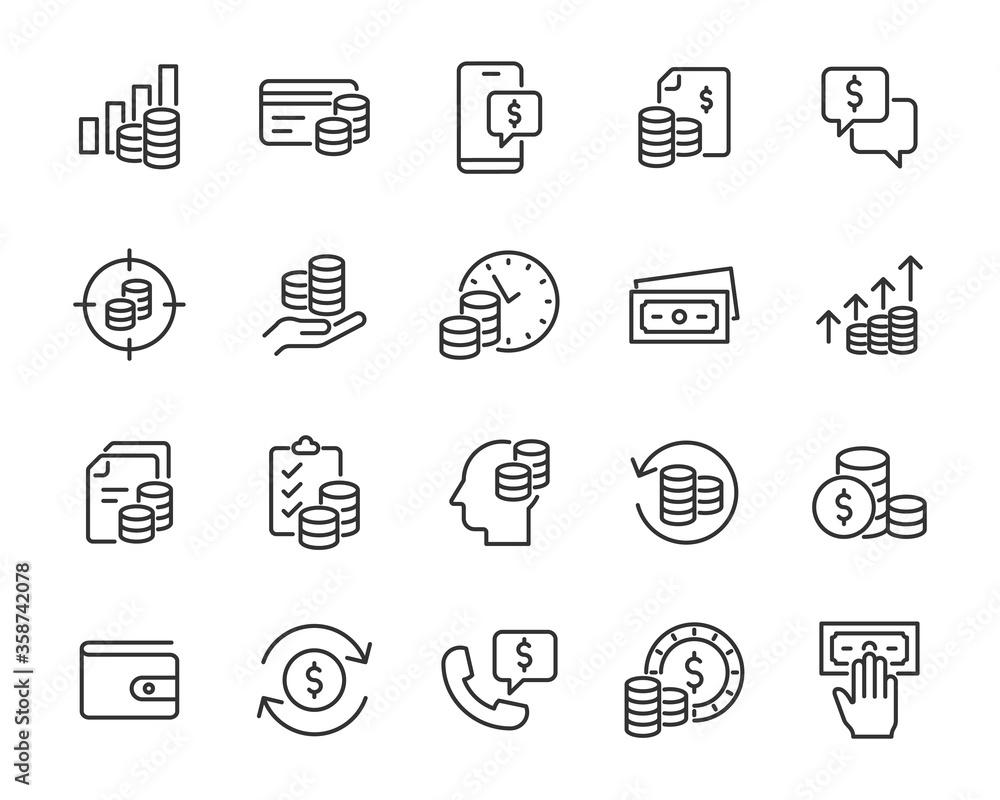 Fototapeta set of finance icons, money, payment, money cosultant