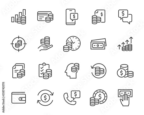 Foto set of finance icons, money, payment, money cosultant