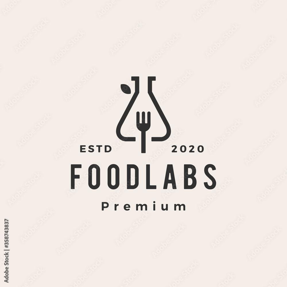 Fototapeta food lab labs fork hipster vintage logo vector icon illustration