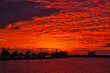 canvas print picture - Spectacular sunset on the Indian River over the Melbourne causeway in Indialantic Florida 12-17-2007