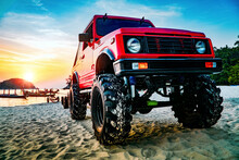Red Truck On The Beach