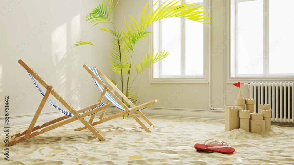 Fototapeta Urlaubsstimmung in Quarantäne mit Strand im Wohnzimmer