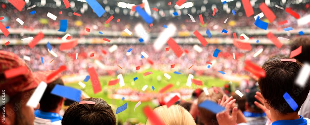 Fototapeta Fans Supporting in Soccer Stadium