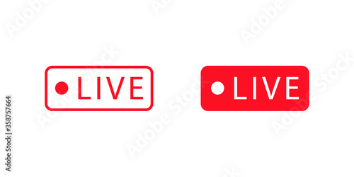 Slika na platnu Live stream red button in flat style