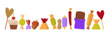 Vector Set Of Sweets On A Whit...