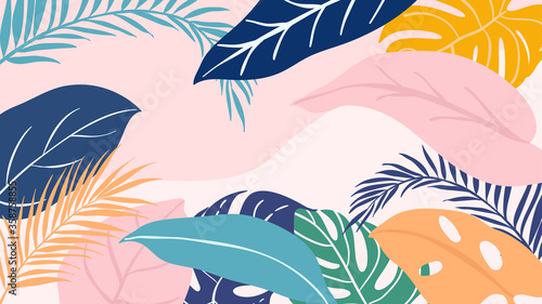Obraz Abstract background vector with tropical leaves  and floral line arts. Creative pattern with hand drawn shapes. Design background for social media post, cover, print and wallpaper - fototapety do salonu