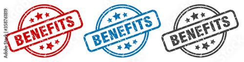 Fototapeta benefits stamp. benefits round isolated sign. benefits label set obraz