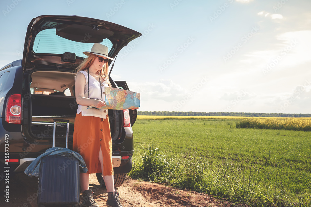 Fototapeta Staycations,Social distance. gen z travels alone suitcase to the covid 19 coronavirus pandemic, isolation, tourism,new normal.Staycations, hyper-local travel, Road trip,getaway, natural environment