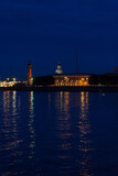 Townscape of Saint Petersburg City at Night. Views from the Embankments