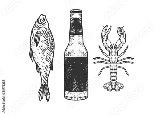beer with dried fish and crayfish sketch engraving vector illustration. T-shirt apparel print design. Scratch board imitation. Black and white hand drawn image.