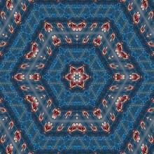 Abstract Background Of Wild Flower Pattern Of Kaleidoscope. Blue Red Background Fractal Mandala. Kaleidoscopic Arabesque
