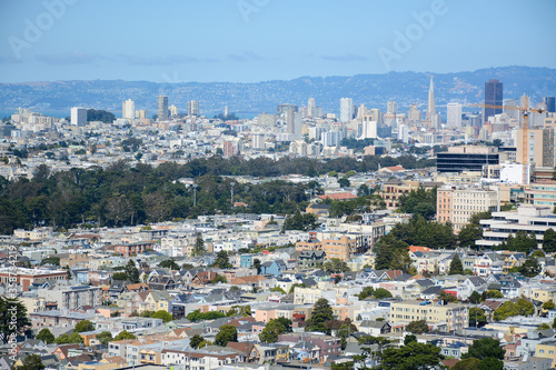 San Francisco California USA - August 17, 2019: Panoramic view to the city from Grandview Park