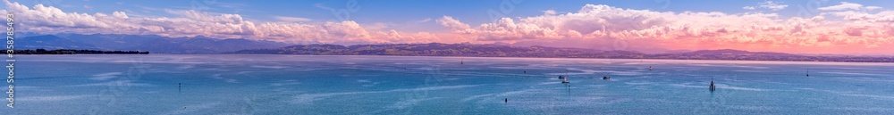 Fototapeta Lake Constance panorama with a view of the Swiss Alps