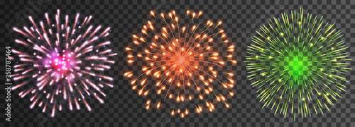 Fototapeta Set of isolated vector fireworks