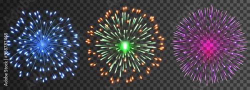 Set of isolated vector fireworks Fototapet
