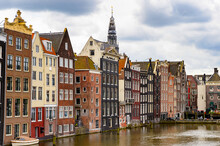 It's Architecture Of Damrak Street Of Amsterdam, Netherlands.