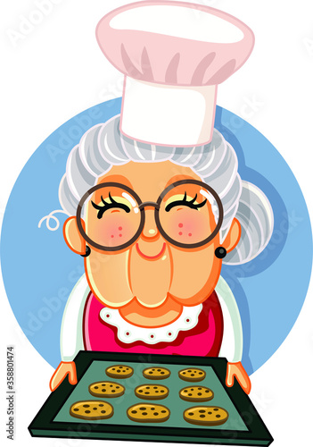 Granny Chef Holding a Tray of Homemade Cookies
