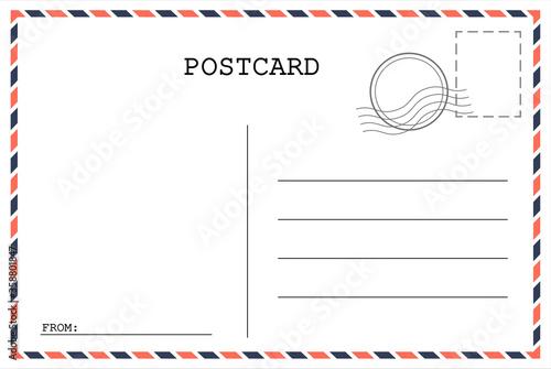 Fototapeta Postcard template. Post envelope with stamp. Vector illustration. EPS 10, obraz
