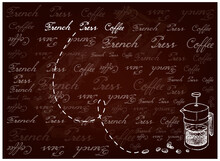 Illustration Hand Drawn Sketch Of Coffee Beans With French Press Pot Or Cafetiere A Piston On Brown Background, A French Traditional Coffee Maker.