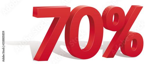 Fototapeta 70 percent discount symbol with shadow