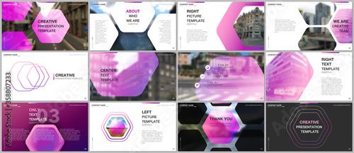 Obraz Minimal presentations design, portfolio vector templates with hexagonal design pink color pattern background. Multipurpose template for presentation slide, flyer leaflet, brochure cover, report. - fototapety do salonu