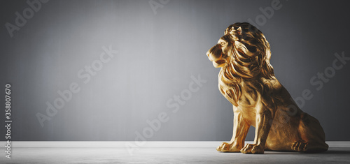 Papel de parede Golden statue of lion, a sculpture. Concept of a strength, power