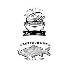 Cauldron And Fish Logos Restau...
