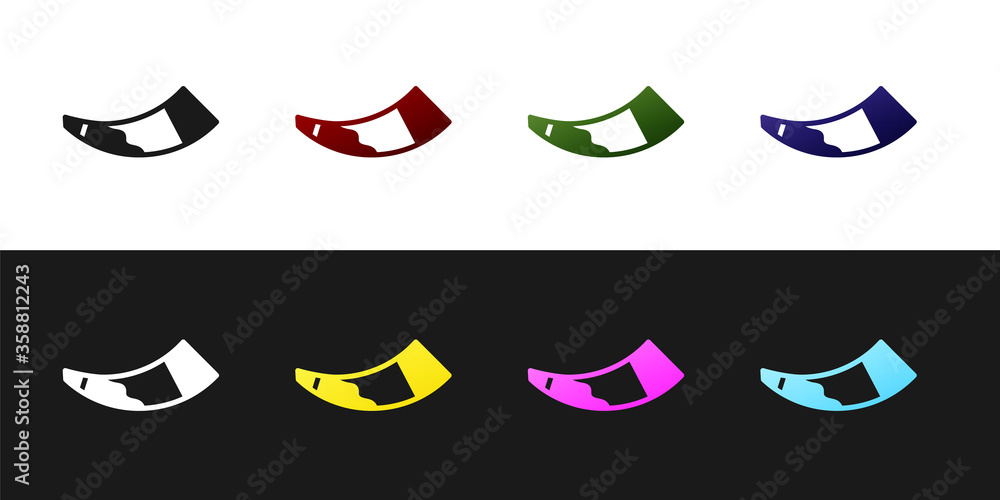 Fototapeta Set Hunting horn icon isolated on black and white background.  Vector