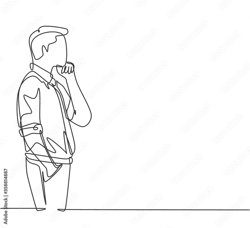 Fototapeta One single line drawing of young male worker seriously staring out of the window from the office building. Focus thinking company growth concept continuous line draw design vector graphic illustration