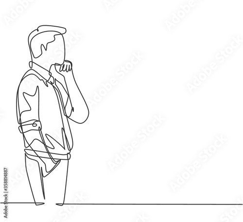 Obraz One single line drawing of young male worker seriously staring out of the window from the office building. Focus thinking company growth concept continuous line draw design vector graphic illustration - fototapety do salonu