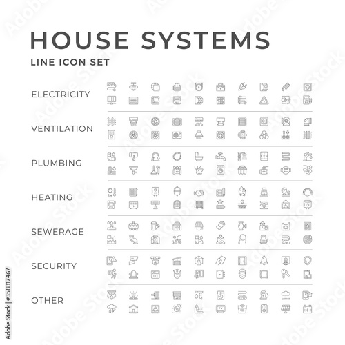 Fotografering Set line icons of house systems