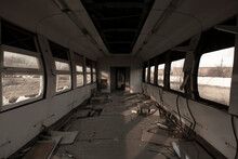Interior Of Abandoned Train Ca...