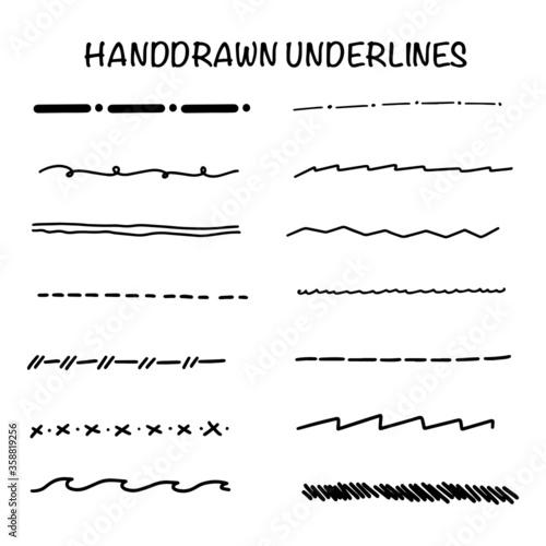 Fototapeta Handmade Collection Set of Underline Strokes in Marker Brush Doodle Style Various Shapes EPS 10 obraz na płótnie