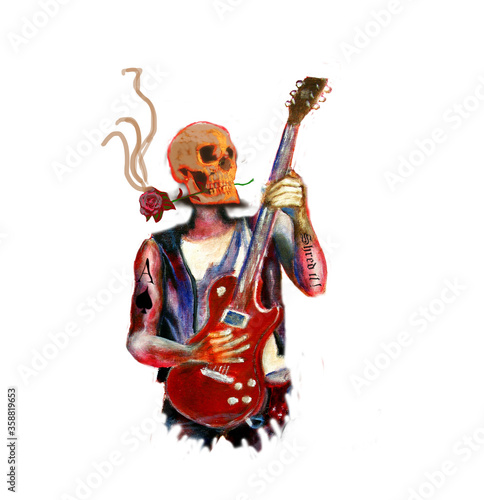 Fantasy art with isolated  heavy metal skull guitarist, red rose between teeth , and tattoo of ace of spades Canvas Print