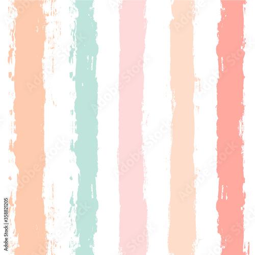 Fotografie, Tablou Hand drawn striped pattern, pink, orange and green girly stripe seamless background, childish pastel brush strokes