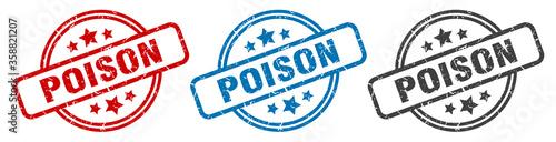 Fotografía poison stamp. poison round isolated sign. poison label set