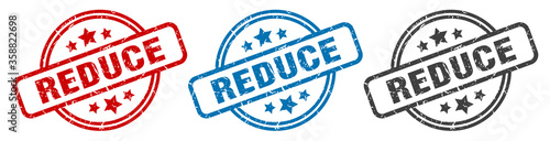 Fototapeta reduce stamp. reduce round isolated sign. reduce label set