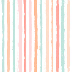 Hand drawn striped pattern, pink, orange and green girly stripe seamless background, childish pastel brush strokes. vector grunge stripes, cute baby paintbrush line backdrop