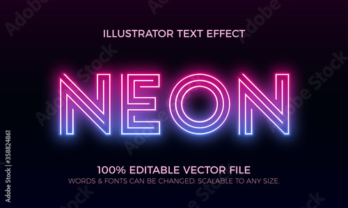 Photographie Colorful Neon Editable Vector Text Style Effect