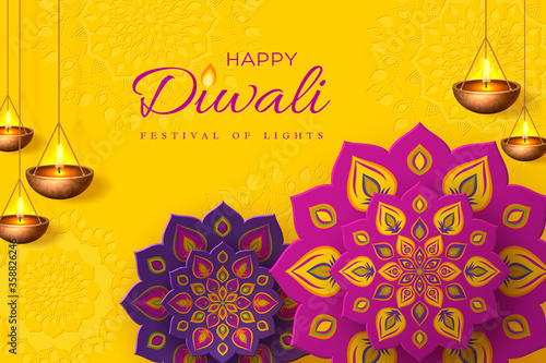 Fototapeta Diwali festival holiday design with paper cut style of Indian Rangoli and hanging diya - oil lamp