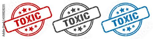 Fototapeta toxic stamp. toxic round isolated sign. toxic label set