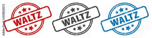 Fotomural waltz stamp. waltz round isolated sign. waltz label set