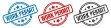 Work Permit Stamp. Work Permit Round Isolated Sign. Work Permit Label Set