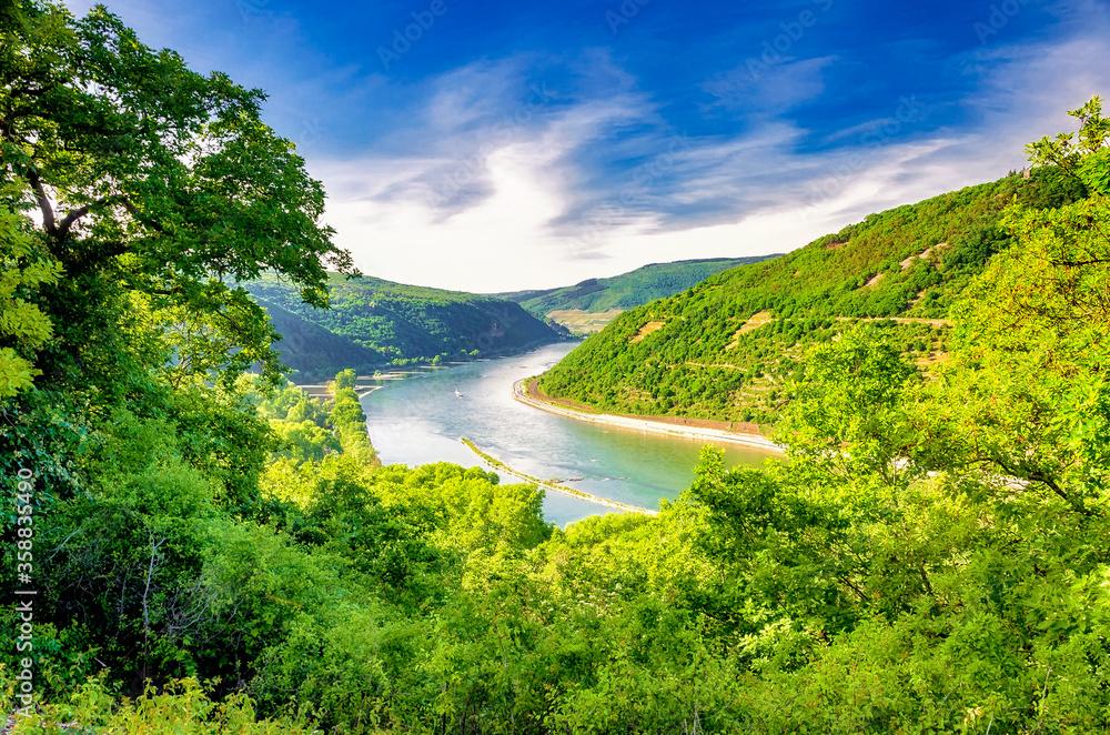 Fototapeta Rhein und Mittelrheintal, Deutschland