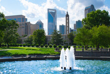 Charlotte City View From Water Fountain At Marshall Park In Charlotte NC.